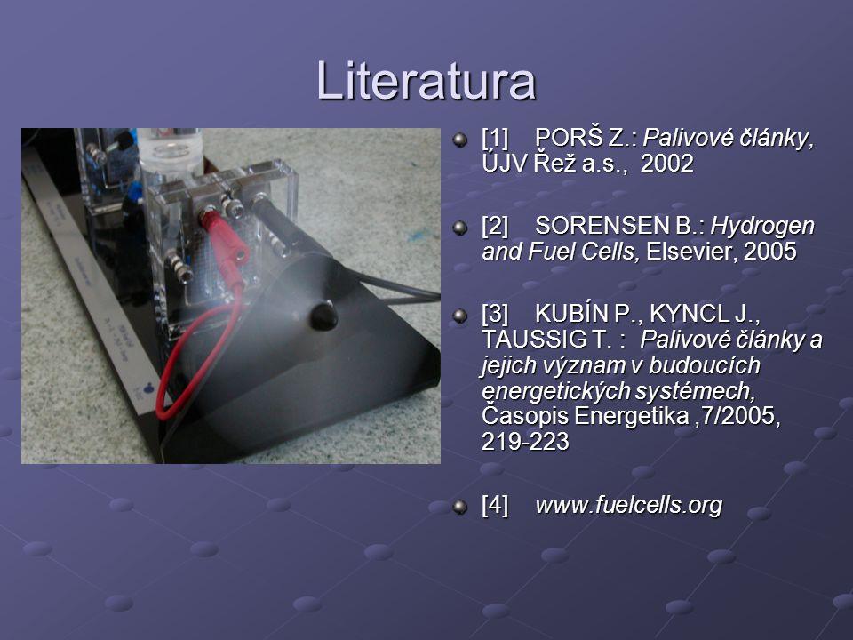Literatura [1] PORŠ Z.: Palivové články, ÚJV Řež a.s., 2002